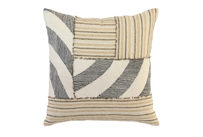 Accent Pillow-Ivory Mixed Media Patchwork 22X22 - 360