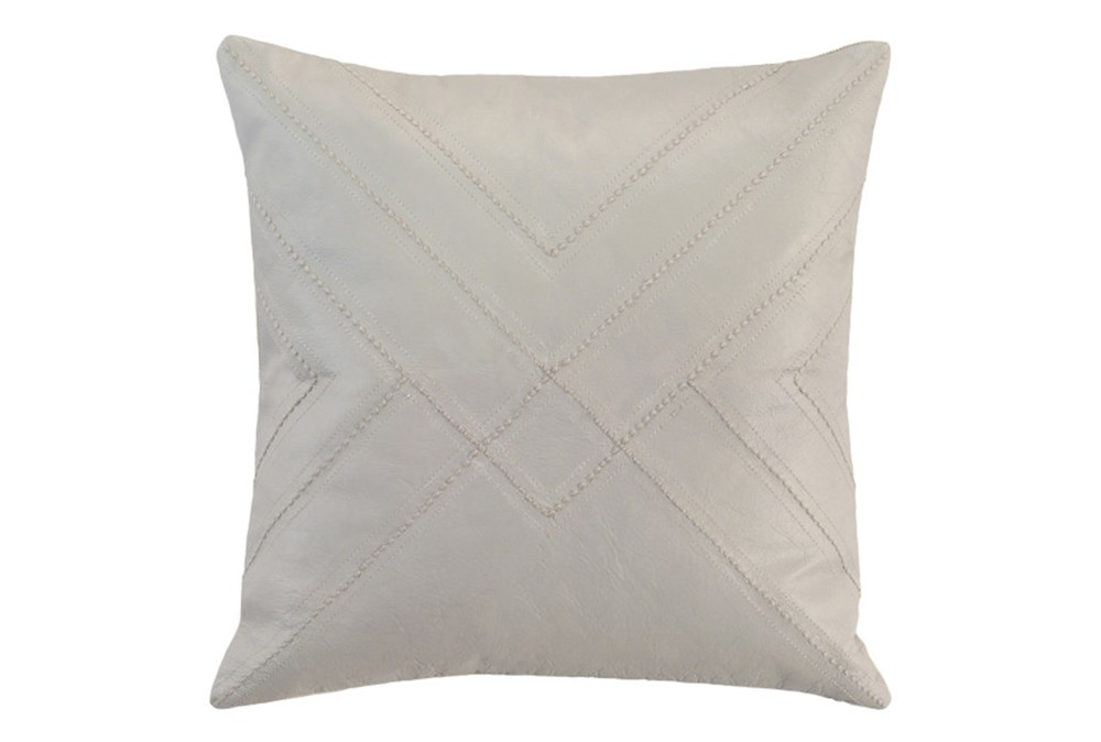 Accent Pillow-Grey Leather With Stitching 18X18