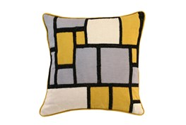 Accent Pillow-Mustard And Black Color Block 18X18