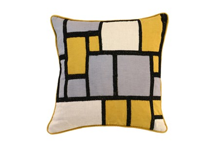 Accent Pillow-Mustard And Black Color Block 18X18 - Main