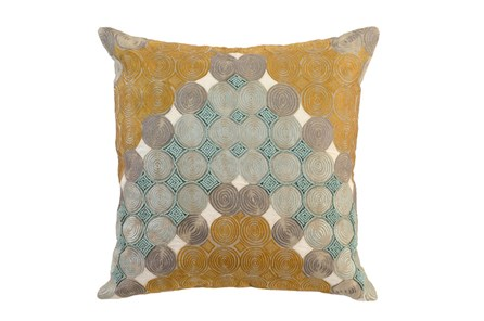 Accent Pillow-Aqua And Mustard Circles 22X22 - Main