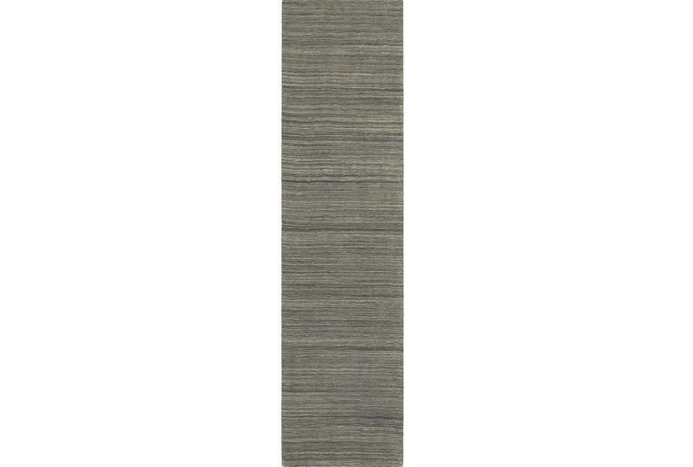 "2'5""x8' Rug-Karina Charcoal Wool Stripe"