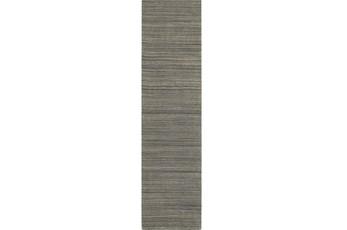 30X96 Rug-Karina Charcoal Wool Stripe