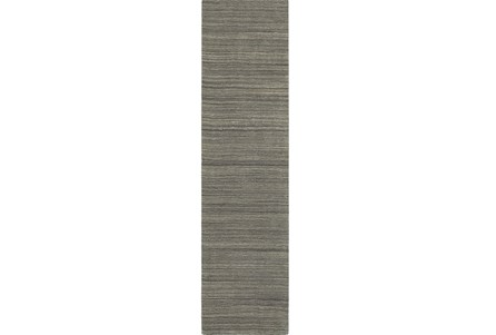 30X96 Rug-Karina Charcoal Wool Stripe