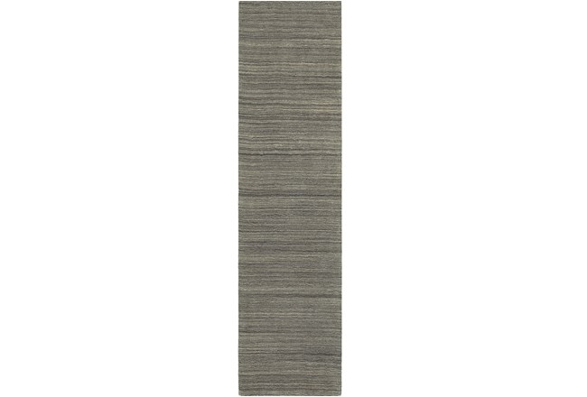 "2'5""x8' Rug-Karina Charcoal Wool Stripe - 360"