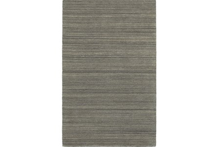 120X156 Rug-Karina Charcoal Wool Stripe