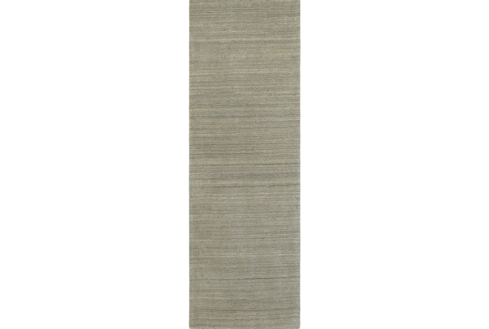 30X96 Rug-Karina Grey Wool Stripe