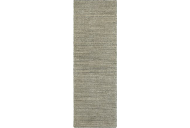 30X96 Rug-Karina Grey Wool Stripe - 360