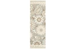 30X96 Rug-Tinley Stylized Floral Grey