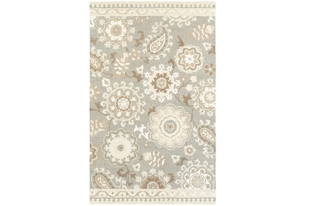 96X120 Rug-Tinley Stylized Floral Grey - Main