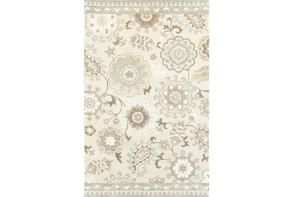 96X120 Rug-Tinley Stylized Floral Taupe
