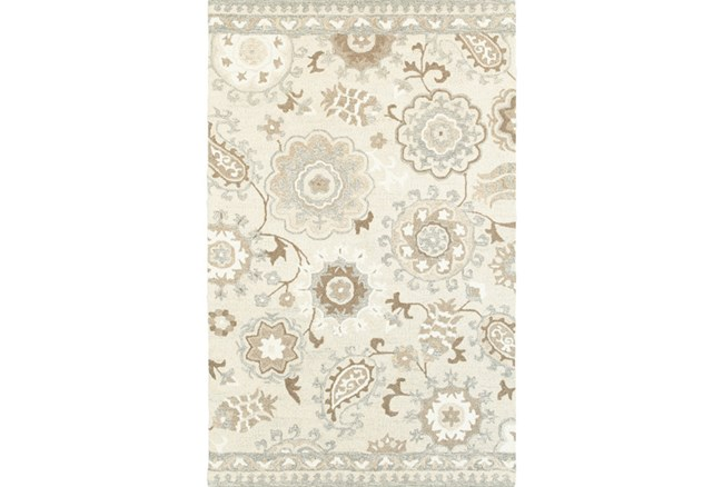 96X120 Rug-Tinley Stylized Floral Taupe - 360