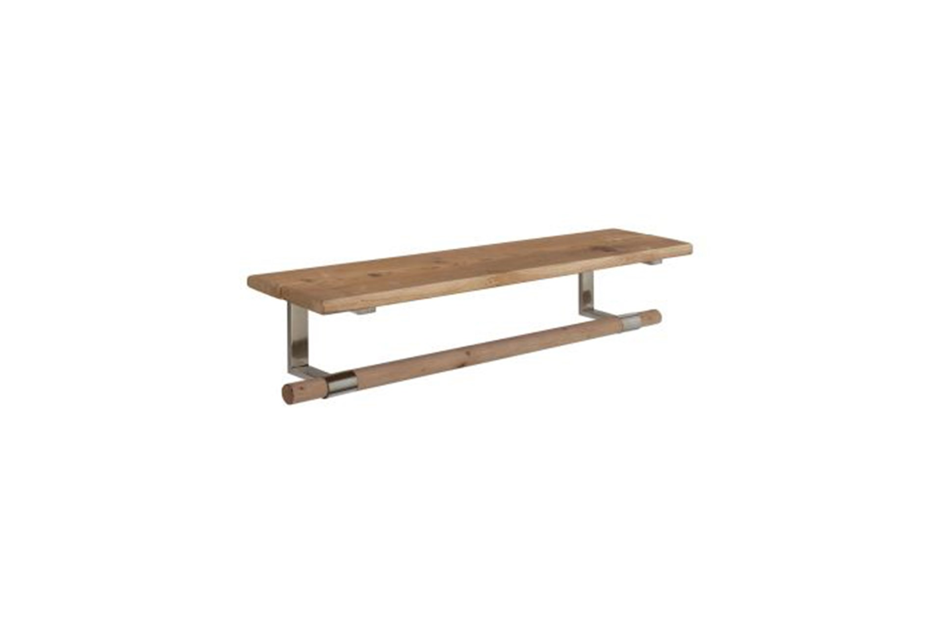 32 Inch Wood And Metal Shelf Living Spaces