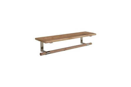 32 Inch Wood And Metal  Shelf