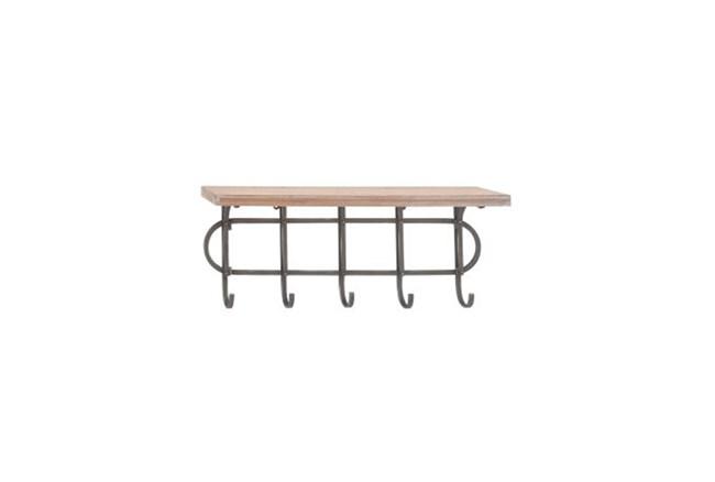 12 Inch Wood And Grey Metal Shelf