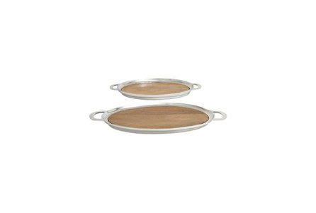 2 Piece Set Silver Metal Wood Oval Tray