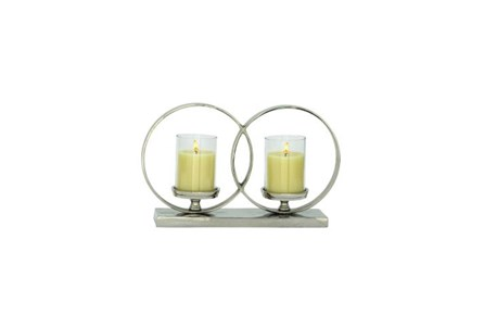 3 Inch Aluminum Glass 2-Circle Candleholder