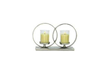 3 Inch Aluminum Glass 2-Circle Candleholder - Main