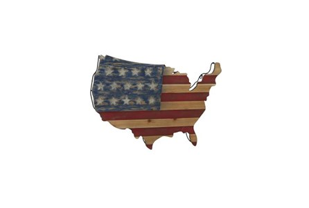 22 Inch America Wood Wall Decor