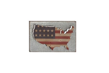 24 Inch America Wood  And Metal Wall Decor