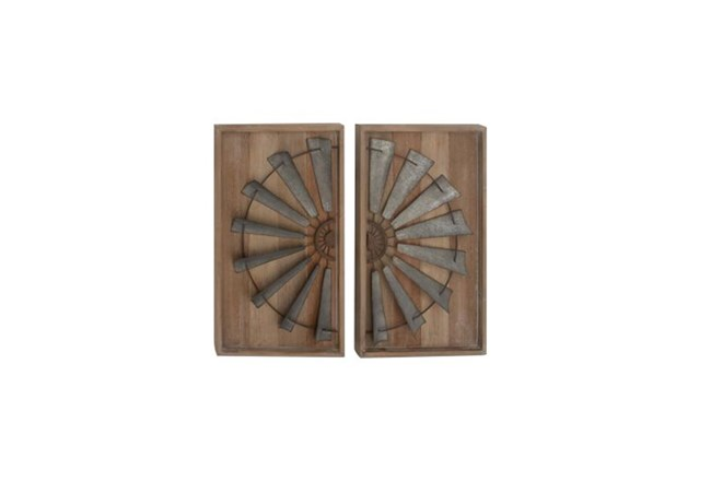 2 Piece Set Mixed Media Wall Panel - 360