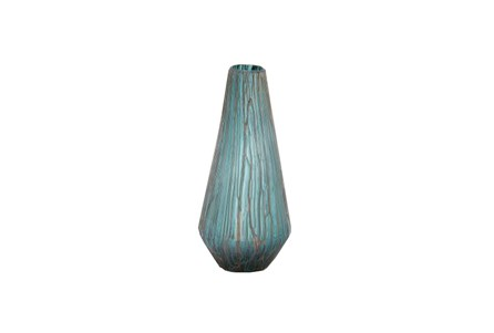 18 Inch Glass Drip Teal Vase