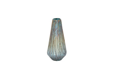 14 Inch Glass Drip Teal Vase - Main