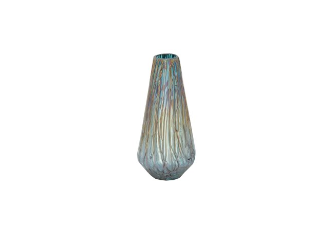 14 Inch Glass Drip Teal Vase - 360