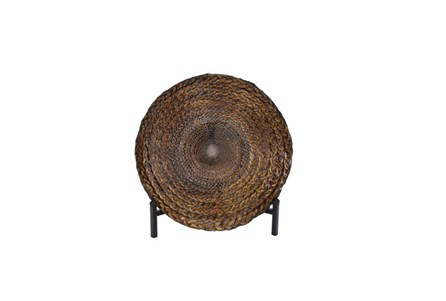 16 Inch Braided Metal Bowl On A Stand