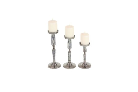 3 Piece Set Silver Metal Inlay Candleholder - Main