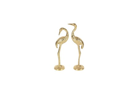 2 Piece Set Gold Metal Flamingo