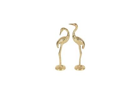2 Piece Set Gold Metal Flamingo - Main