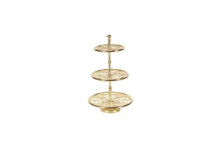 21 Inch Silver Metal 3-Tier Tray Stand