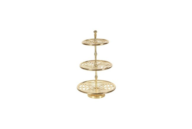 21 Inch Silver Metal 3-Tier Tray Stand - 360