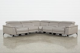Thatcher Grey 5 Piece Sectional W/Armless Power Recliner