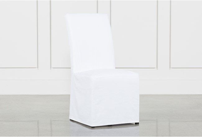 Pearson White Slipcovered Dining Side Chair - 360