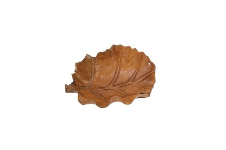 22 Inch Wooden Leaf Bowl - Main
