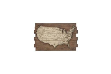 22 Inch Mix Media Map Wall Decor - Main