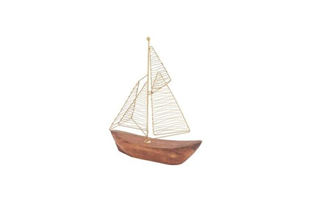 13 Inch Gold Metal Wood Boat - Main