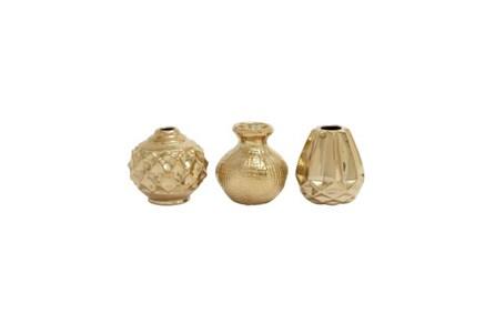 6 Inch Gold Porcelain Vase
