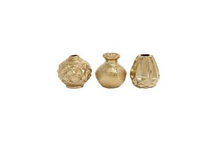 6 Inch Gold Porcelain Vase - Main