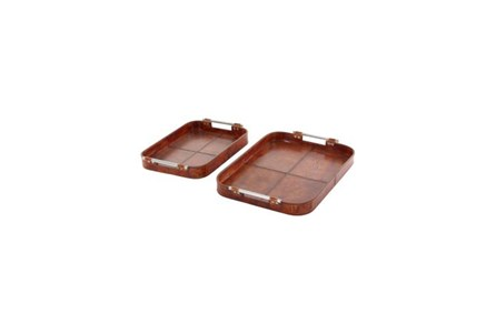 2 Piece Set Brown Leather Trays