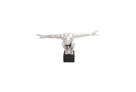 15 Inch Silver Spread Arms Sculpture