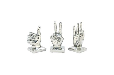 3 Piece Set Silver Hands Sculpture - Main