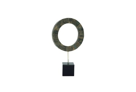 19 Inch Black Circle Resin Sculpture