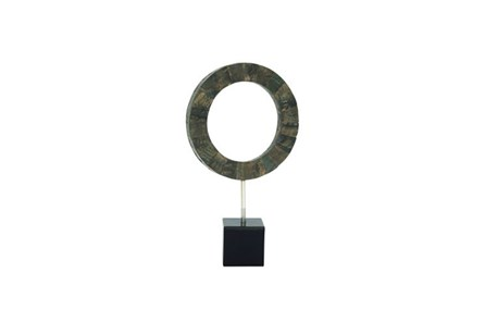 19 Inch Black Circle Resin Sculpture - Main