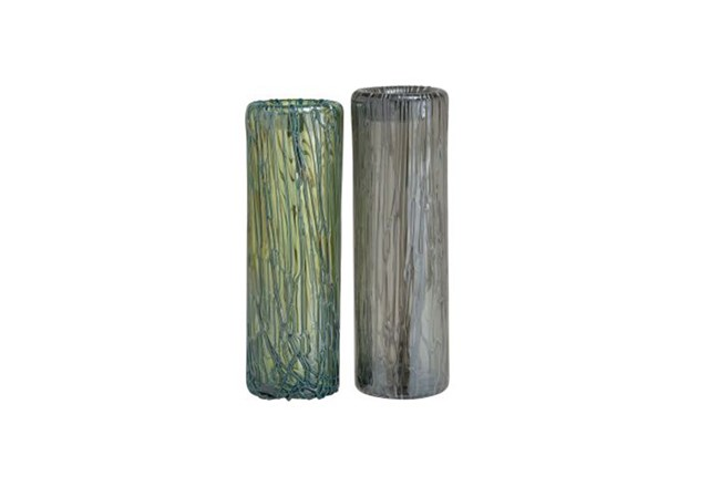 15 Inch Smoked Glass Vase Living Spaces