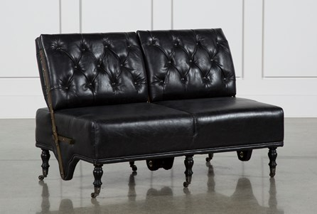 Leather Rubber Wood  Sofa