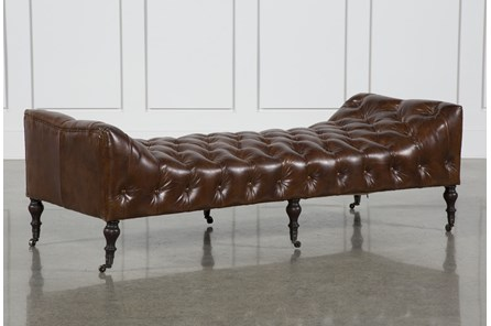 Cowhide Leather Rubber Wood Bench - Main