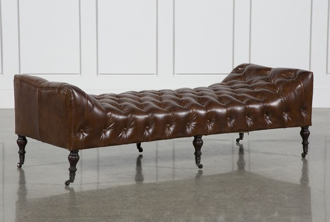 Cowhide Leather Rubber Wood Bench - 360